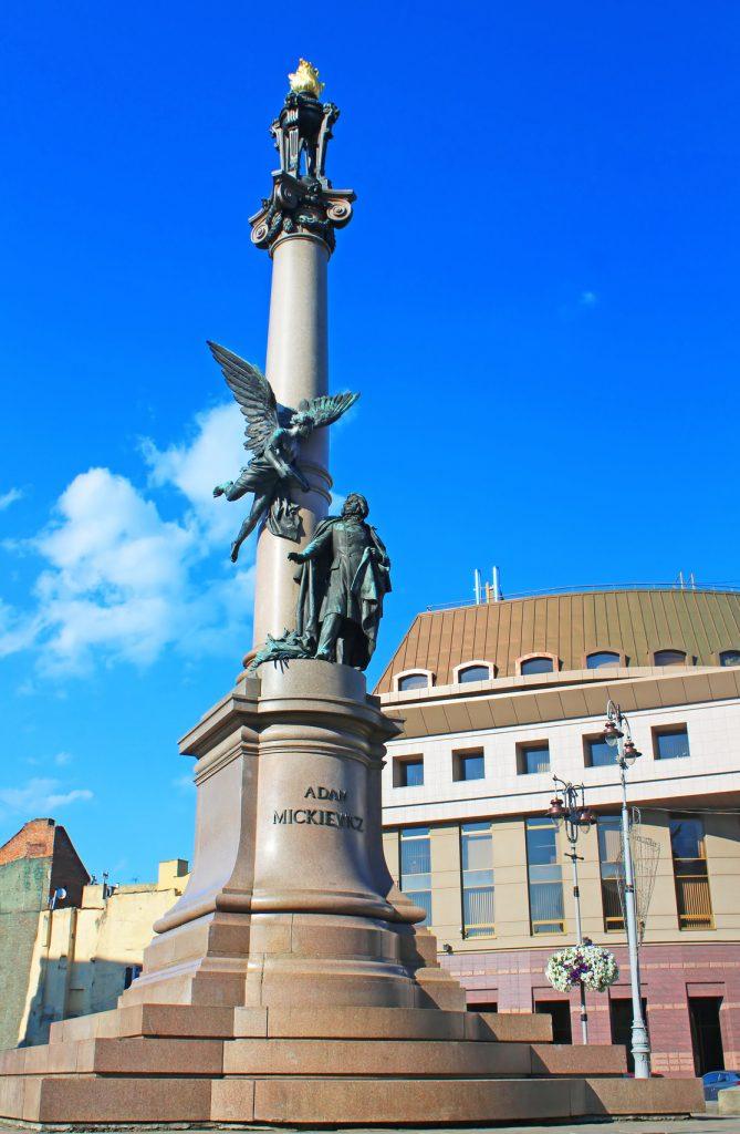 Adam Mickiewicz Monument in Lviv, Ukraine. Mickiewicz (1798-1855) was a Polish national poet, essayist, translator, publicist and political writer